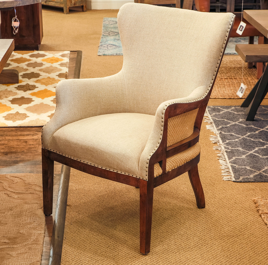 Alexander Deconstructed Arm Chair - Linen + Chestnut