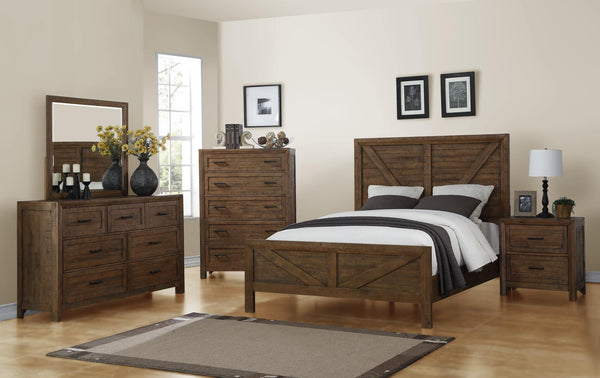 Jocassee Pine Bed - King - Burnished Brown