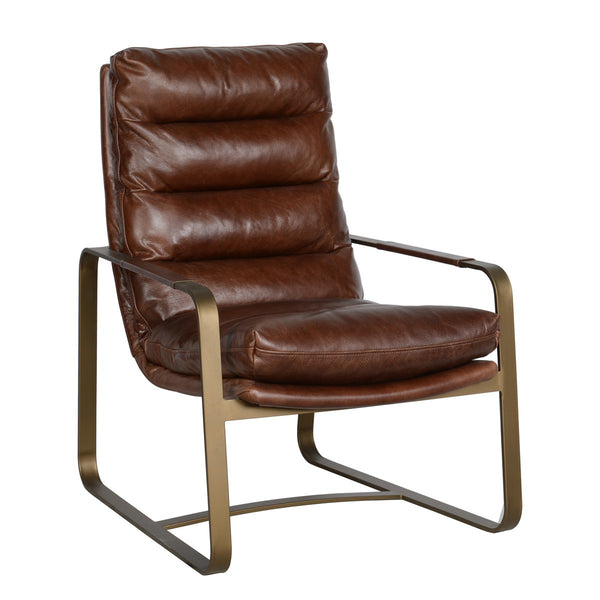 Badu Top Grain Leather Club Chair - Brown
