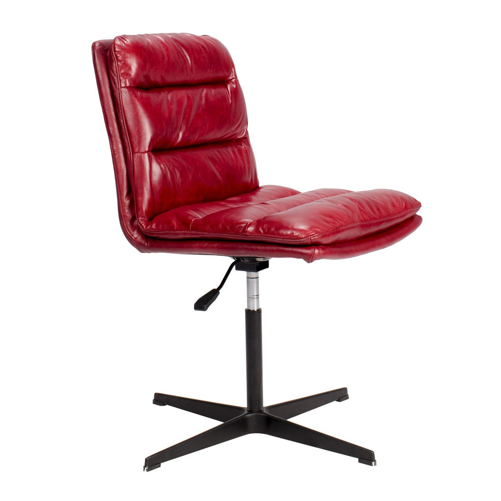Bethae Top Grain Leather Swivel Desk Chair   Red