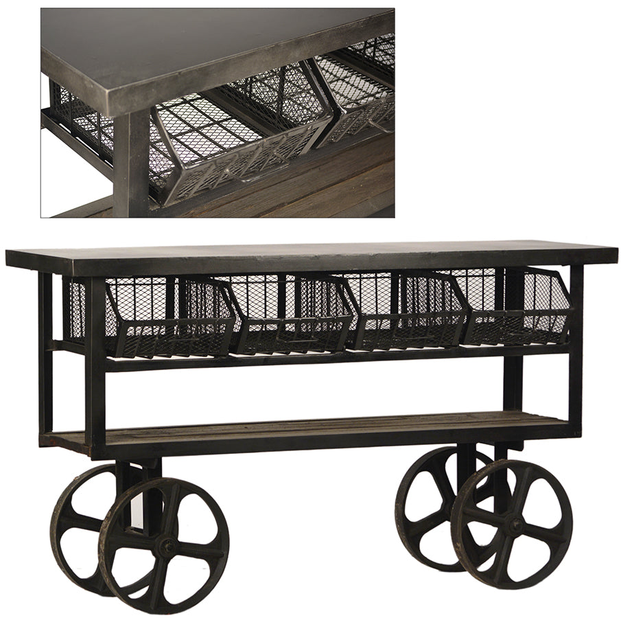 "Industrial 61"" Trolley Coffee Table"