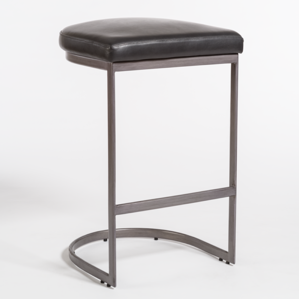Santa Ana Leather Bar Stool - Obsidian