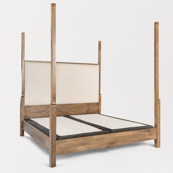 Evette King Poster Bed - Linen + Ash