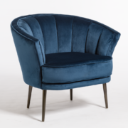 Aveni Occasional Chair - Midnight Velvet + Aged Bronze