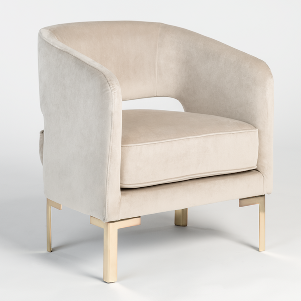 Graciela Occasional Chair - Taupe + Gold