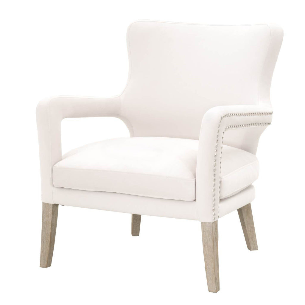 Superieur Cecile Club Chair   Cream Velvet + Natural Gray