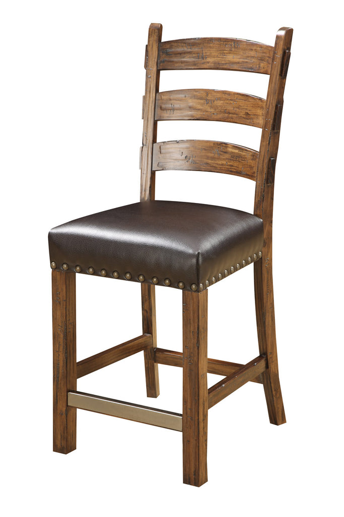Gap Creek Leather & Wood Ladderback Counter Stool