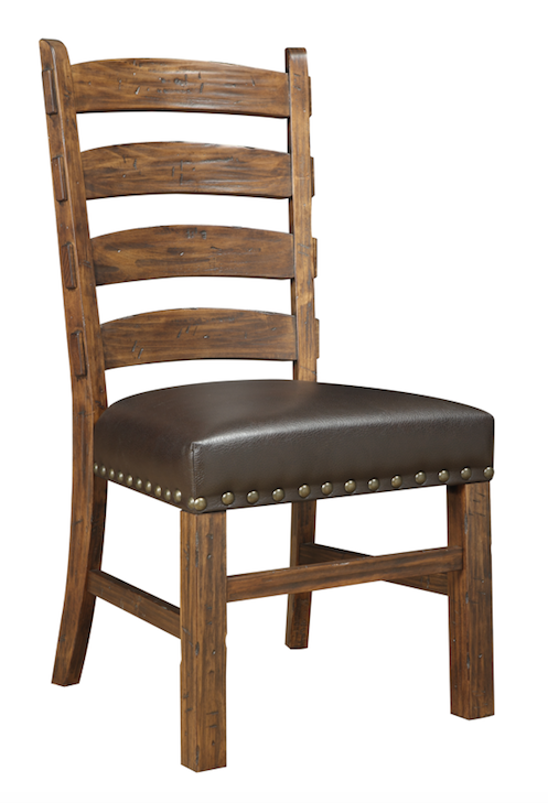Gap Creek Leather & Wood Ladder Back Dining Chair - Brown Wash