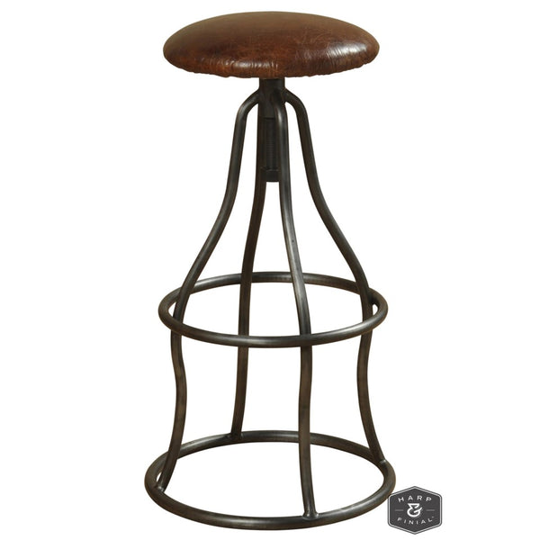 Winston Adjustable Swivel Stool - Vintage Brown Leather