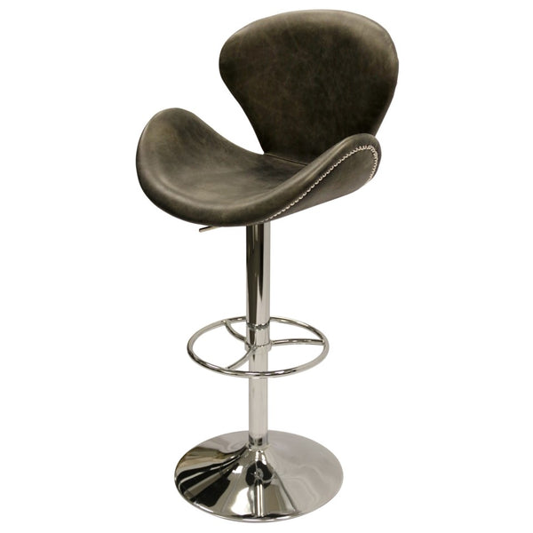 Wilson Adjustable Vintage Leather Swivel Stool - Ebony