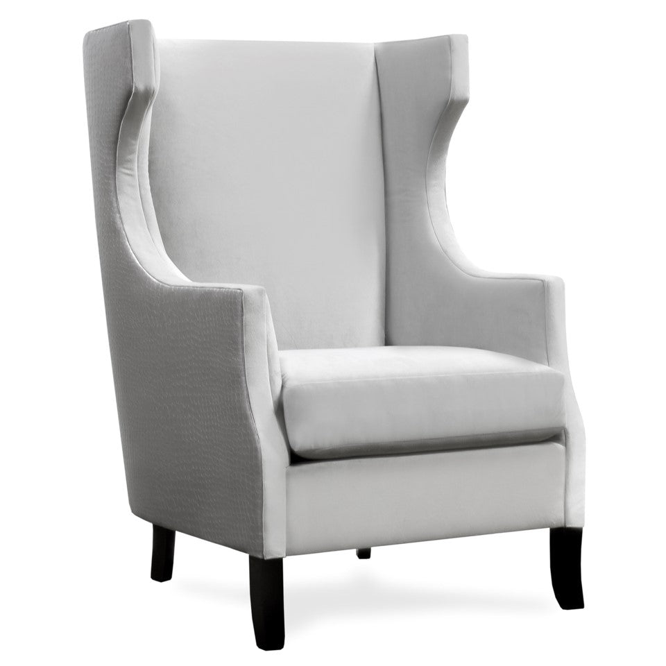 Abu Steel Faux Leather & Dove Velvet Fabric Chair