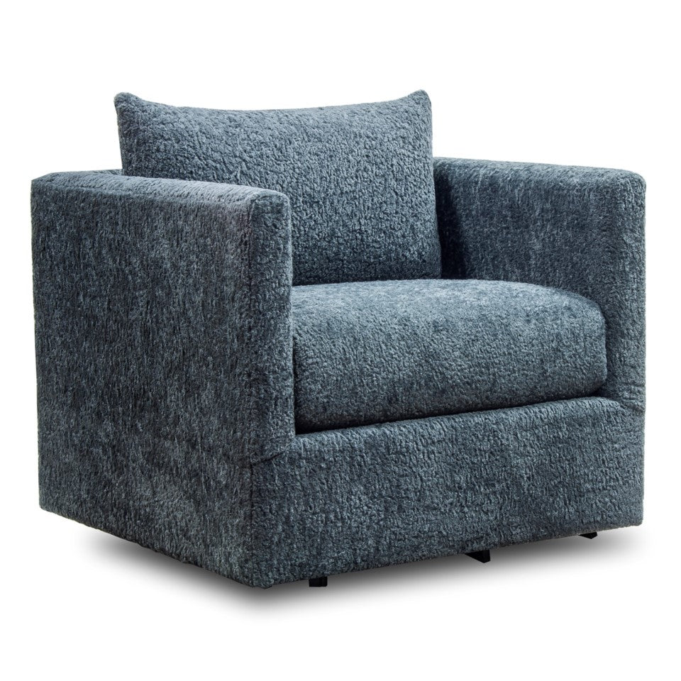 Merveilleux Elroy Swivel Chair   Navy Plush