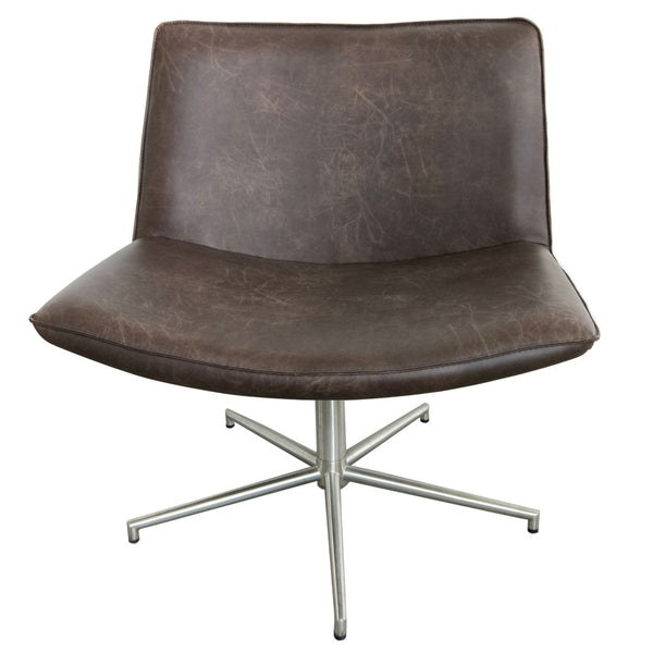 Belfast Faux Leather Occasional Chair - Distressed Brown