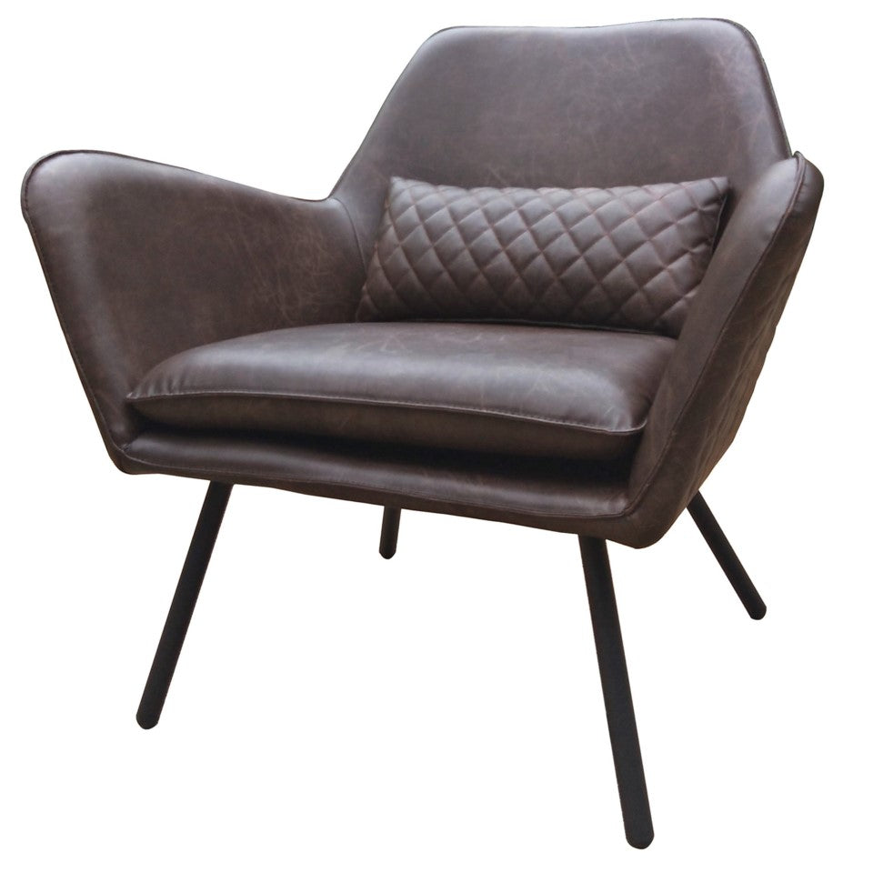 Ennis Faux Leather Occasional Chair - Distressed Brown