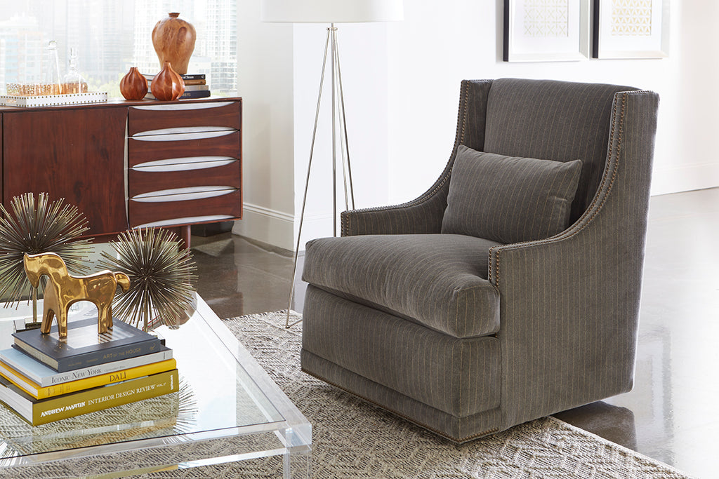 Lisa Feather Down Swivel Chair - Crypton Gray Brushstroke