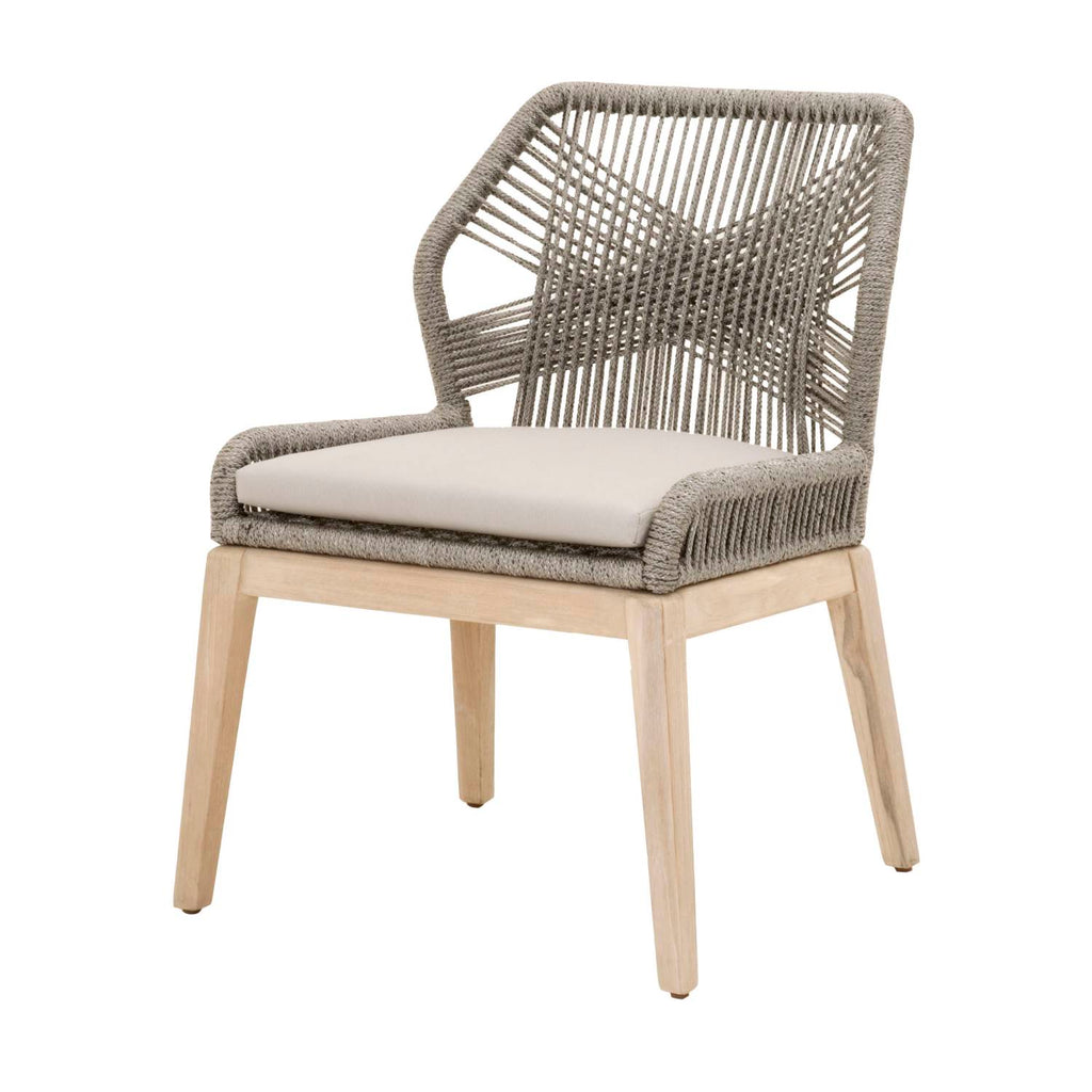 Blossom Outdoor Dining Chair - Gray Teak + Platinum Rope