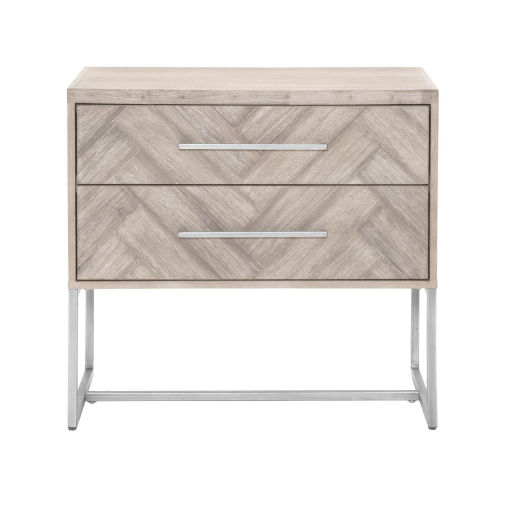 Pastiche Nightstand - Natural Gray + Stainless Steel