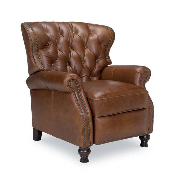 Oxford Top Grain Leather Pushback Recliner - Saddle
