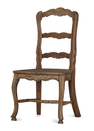 Provincial Mahogany Dining Chair with Wooden Seat - Cocoa