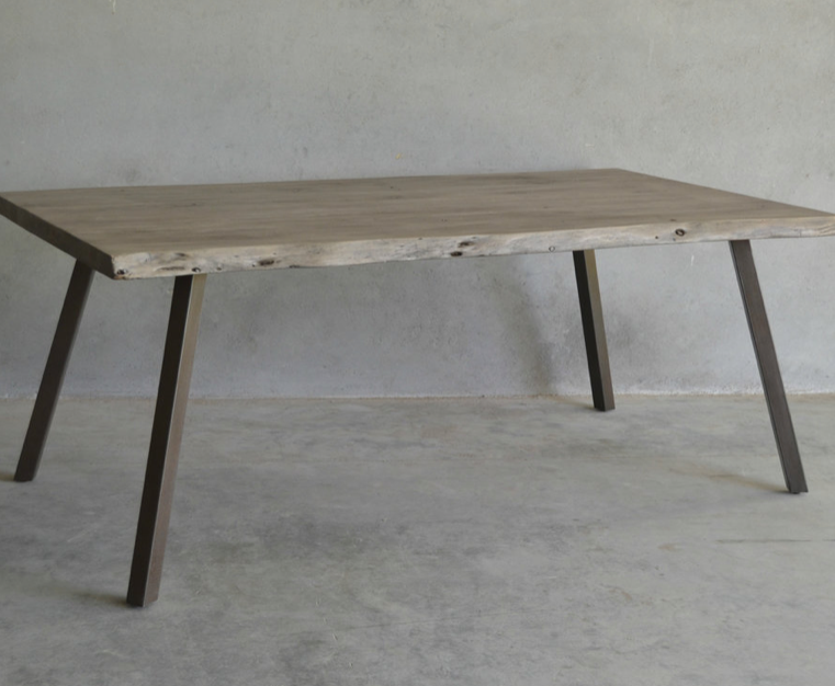 """Pascal 79"""" Live Edge Dining Table - Stone Gray"""