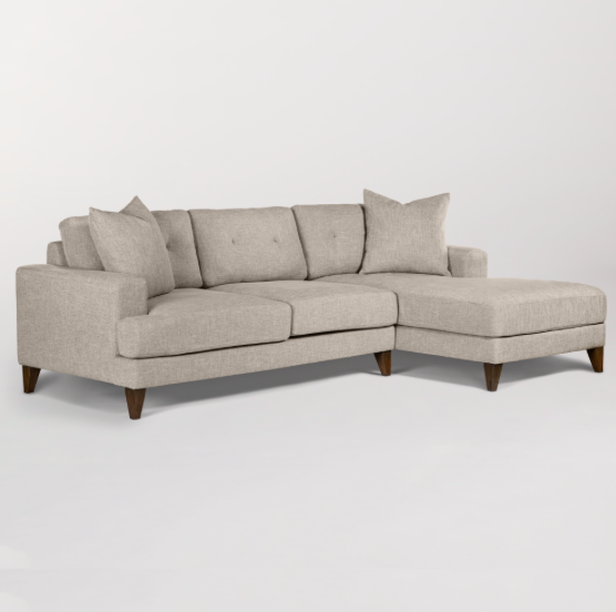 Sausalito Right Arm Facing Sectional - Twill + Chestnut