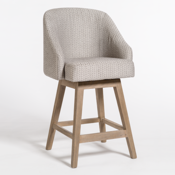 Landon Swivel Counter Stool - Chevron + Ash
