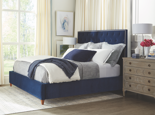 Marilyn Adjustable Queen Bed - Navy Velvet