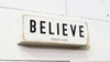 Believe Shelf Art w/Gift Bag - White