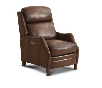 Upchurch Top Grain Leather Power Motion Recliner - San Remo Antique