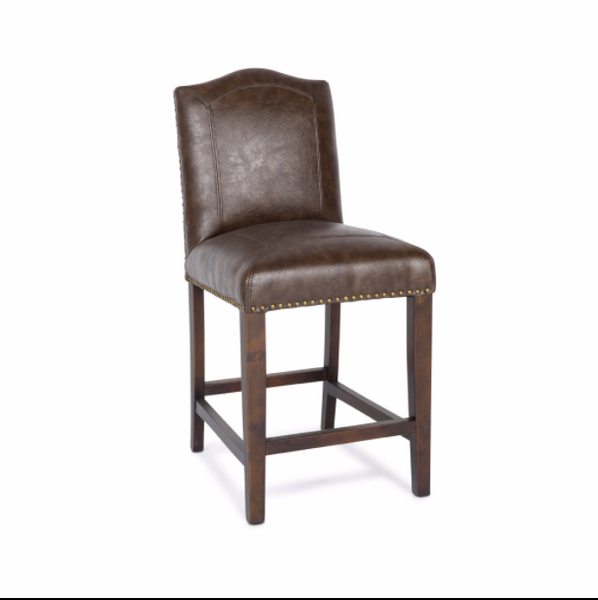 Santa Ana Top Grain Leather Counter Stool - Chocolate