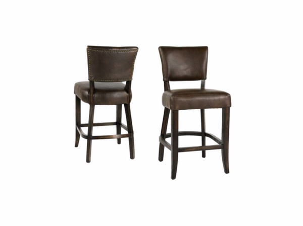 Wesley Top Grain Leather Counter Stool - Chocolate + Dark Walnut