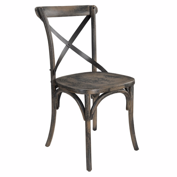 Agnes Oak & Iron X-Back Chair - Charcoal Wash