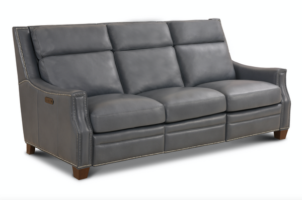 Mandel Top Grain Leather Power Reclining Sofa - Canape