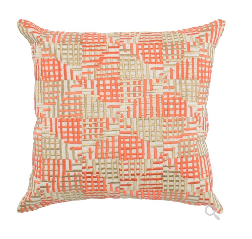 Loki 20x20 Silk Embroidered Pillow - Orange/Natural
