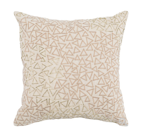 Farrah 18x18 Hand Beaded + Embroidered Pillow - Natural
