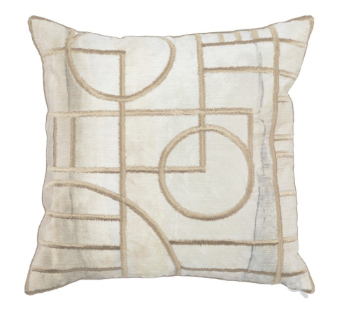 Alix 18x18 Silk Embroidered Pillow - Natural
