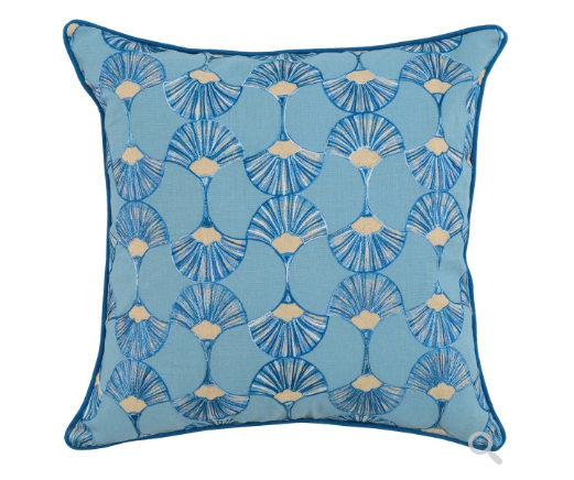 Artemis 22x22 Silk Embroidered Pillow -  Royal + Marlin Blue