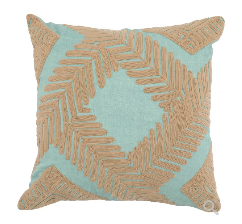 Marly 22x22 Embroidered Pillow - Blue Surf/Natural