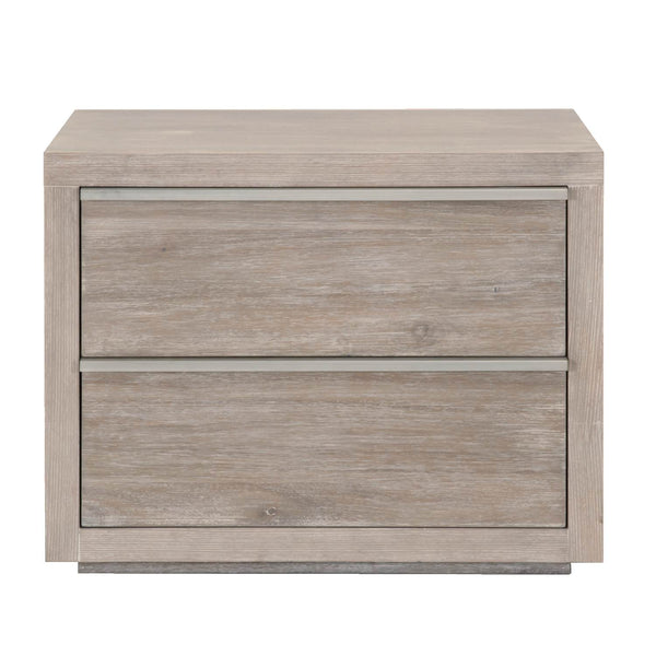 Alloy 2 Drawer Nightstand - Natural Gray + Stainless Steel