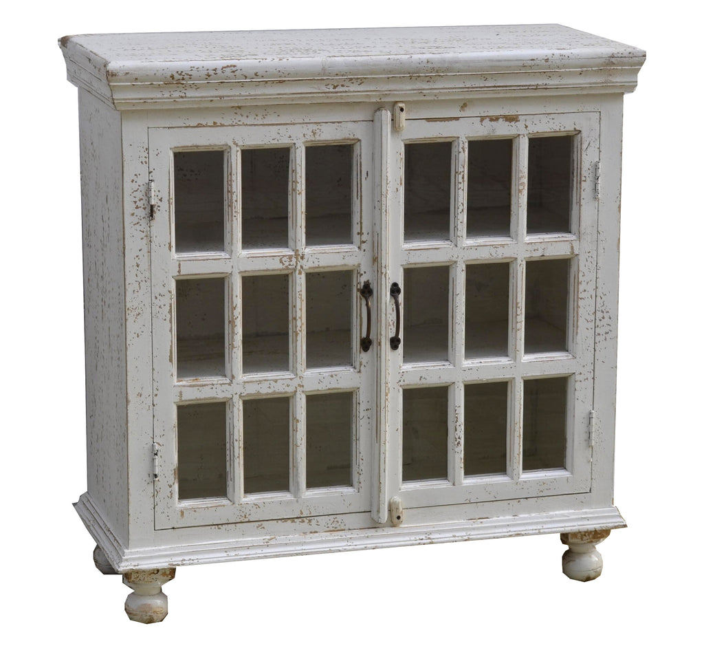 Christine 38 Double Door Cabinet White Distress Vintage Home