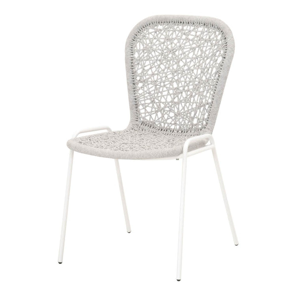 Donner Dining Chair - White + Taupe Rope