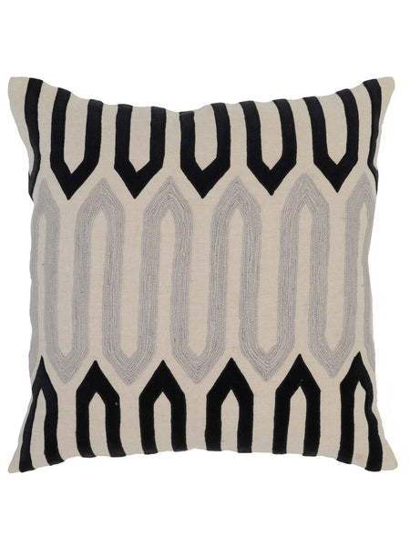 Greer 22x22 Pillow - Natural & Onyx