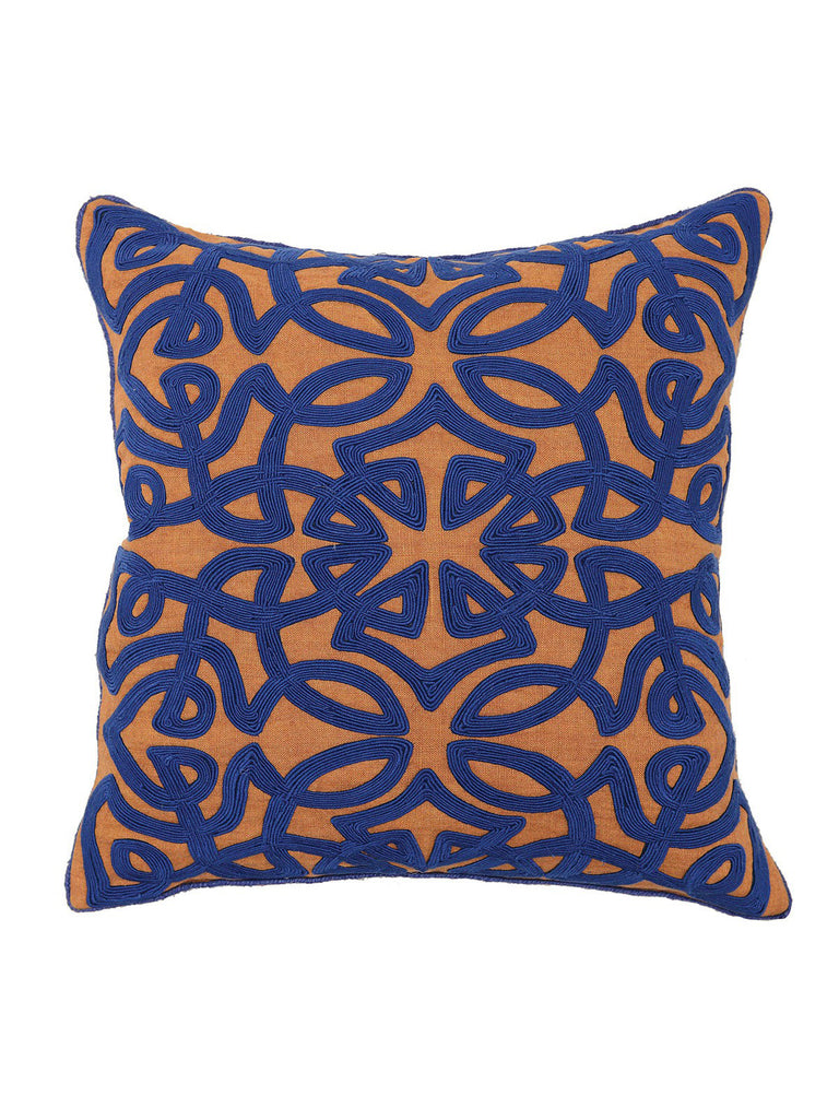 Jada Blue 18x18 Pillow - Sienna & Dark Blue