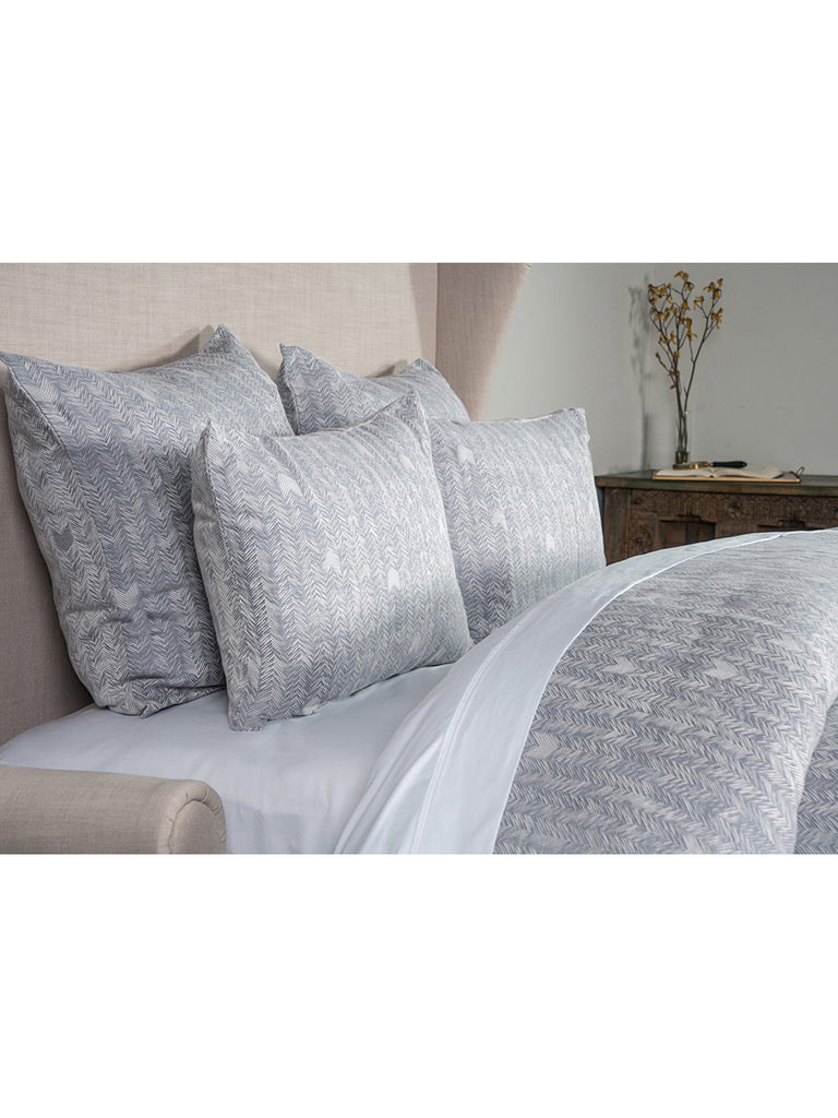 French Herringbone Duvet Collection - Storm/Ivory - Queen