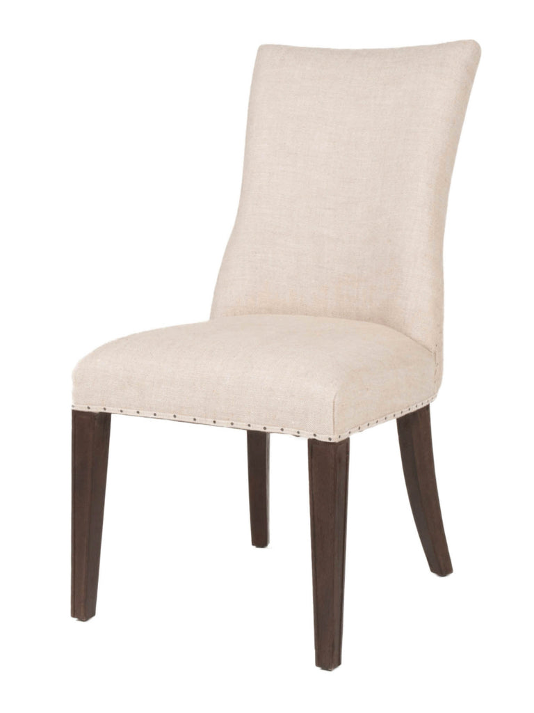 Landes Dining Chair   Bisque French Linen + Java