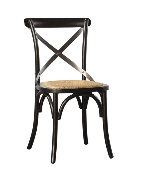 Carol Birch Side Chair - Black + Steel Back