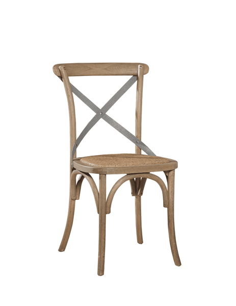 Carol Birch Side Chair - Driftwood + Steel Back