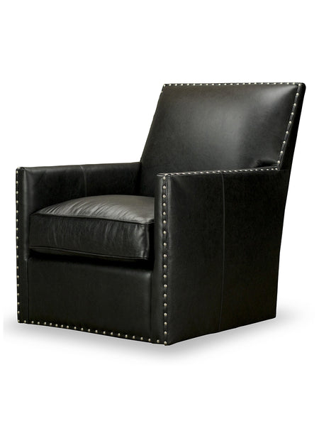 Dexter Swivel Leather Chair - Black