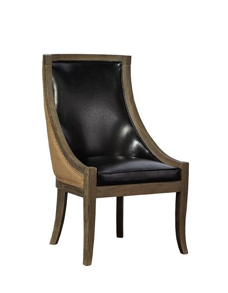 Ballantyne Oak & Leather Chair - Black