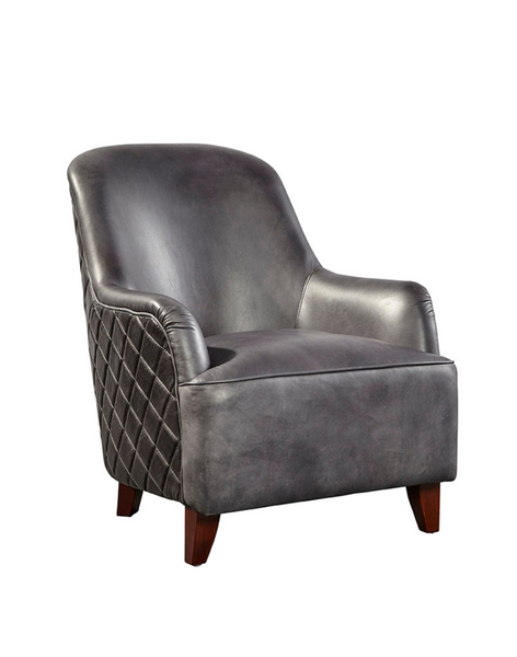 Henry Leather Chair - Pewter